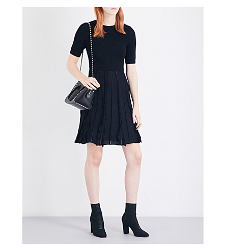 VALENTINO Ruffle-trim knitted skater dress (Black