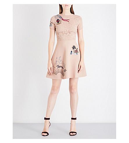 VALENTINO Tattoo-print knitted mini dress (Beige