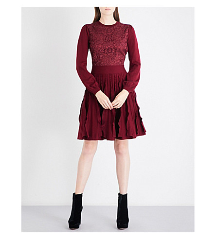 VALENTINO Floral-lace wool-knitted dress (Cassis