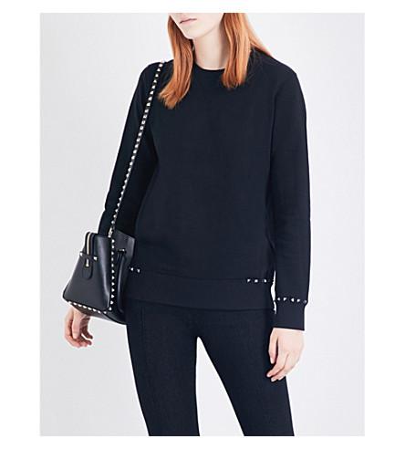 VALENTINO Stud-embellished cotton-jersey sweatshirt (Black
