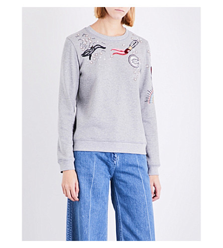VALENTINO Sequin-embellished jersey sweatshirt (Grey
