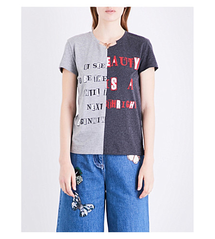 VALENTINO Chain-embellished printed cotton-jersey T-shirt (Light+grey+/+dark+grey