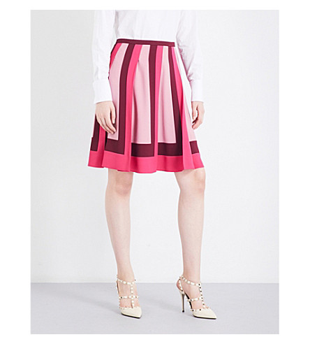 VALENTINO Tri-tone mid-rise pleated skirt (Raspberry/casis/sandy