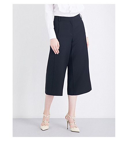 VALENTINO Wide-leg wool-blend culottes (Black
