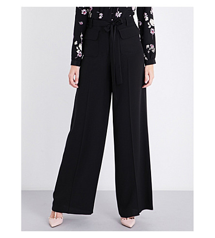 VALENTINO Wide-fit cropped silk trousers (Black