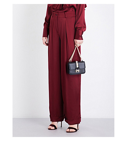 VALENTINO Wide high-rise silk-satin trousers (Cassis