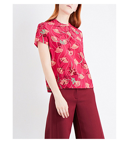 VALENTINO Lotus-print short-sleeved silk top (Raspberry