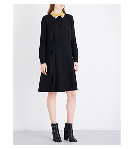 VALENTINO Embroidered-collar pleated wool and silk-blend dress (Black