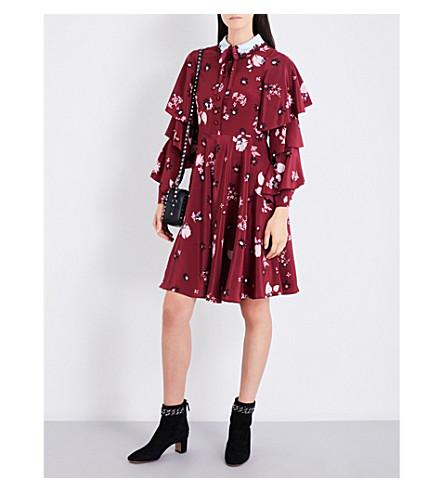 VALENTINO Floral-print ruffled silk-crepe de chine dress (Casisis/+dark+red