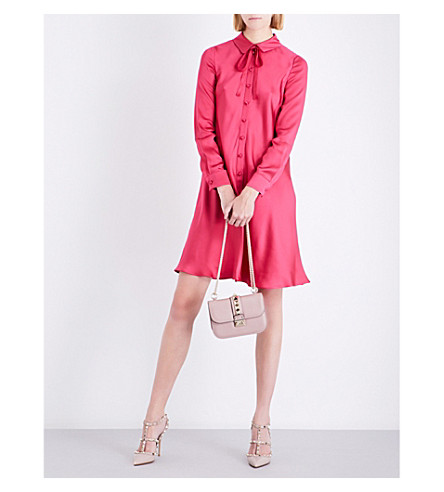 VALENTINO Bow-detail silk-satin mini dress (Raspberry