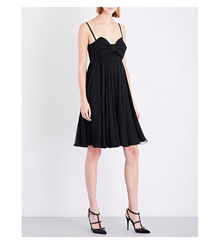 VALENTINO Bow-detail silk-chiffon and wool dress (Black