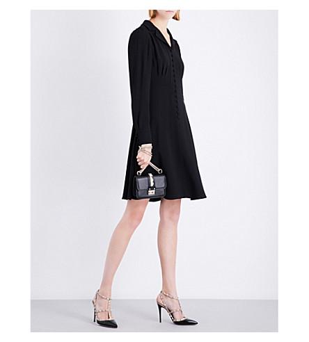 VALENTINO V-neck crepe shirt dress (Black