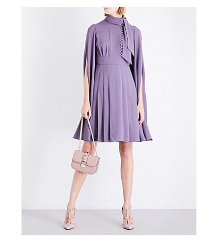 VALENTINO Cape-sleeve pleated crepe dress (Iris