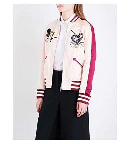 VALENTINO Bead-embellished silk-satin bomber jacket (Poudre/ivory/cassis