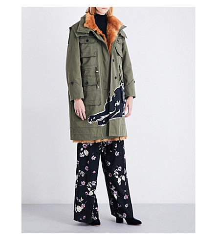VALENTINO Panther-appliqué cotton-twill and shearling parka coat (Blk/orange/+green