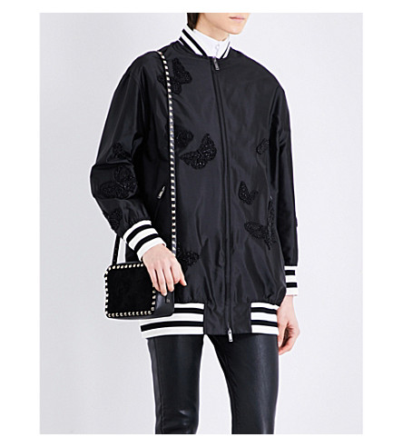 VALENTINO Butterfly-embellished silk-shell bomber jacket (Black