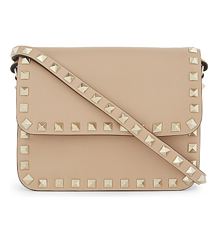 VALENTINO Rockstud leather cross-body bag (Camel+rose