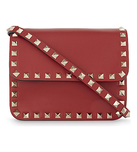 VALENTINO Rockstud leather cross-body bag (Rosso