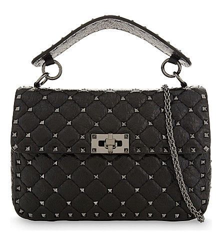 VALENTINO Rockstud medium leather shoulder bag (Black