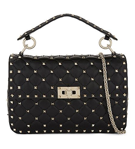 VALENTINO Rockstud medium quilted leather shoulder bag (Black
