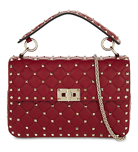 VALENTINO Rockstud medium quilted leather shoulder bag (Rosso