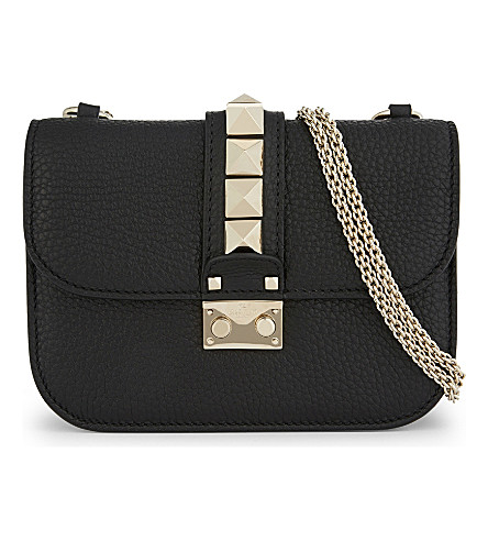 VALENTINO Rockstud Lock small grained leather cross-body bag (Black