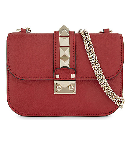 VALENTINO Rockstud Lock small grained leather cross-body bag (Rosso