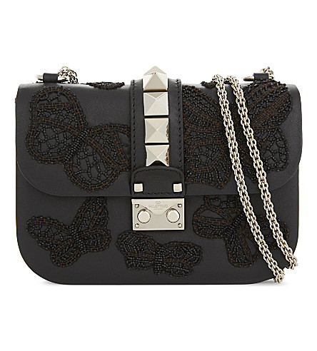 VALENTINO Butterfly Lock small leather cross-body bag (Al+campione/nero