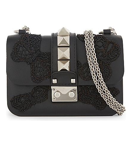 VALENTINO Cambutterfly Lock mini leather cross-body bag (Al+campione/nero