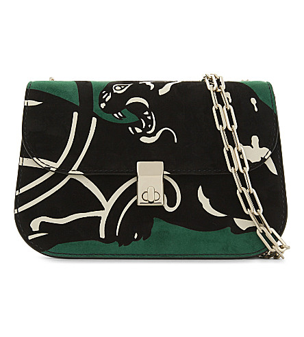 VALENTINO Panther small suede cross-body bag (Emerald/al+campione
