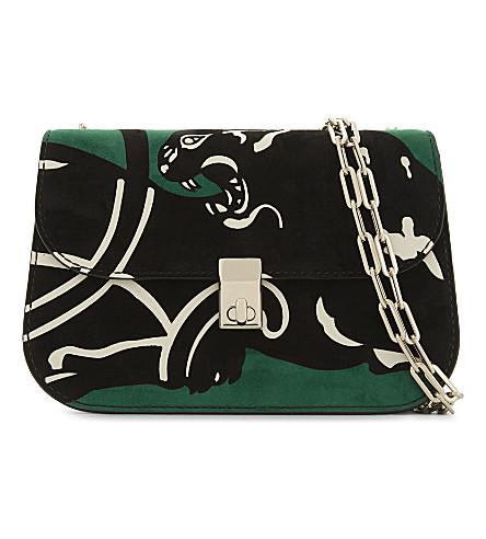 VALENTINO Panther small suede cross-body bag (Emerald/al+campione
