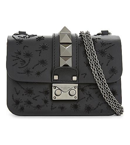 VALENTINO Embellished leather rockstud cross-body bag (Black