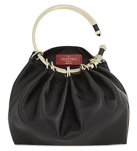 VALENTINO Rockstud round-handle leather clutch (Black