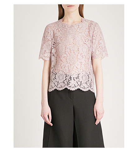 VALENTINO Scalloped lace T-shirt (Water+lilac/rose
