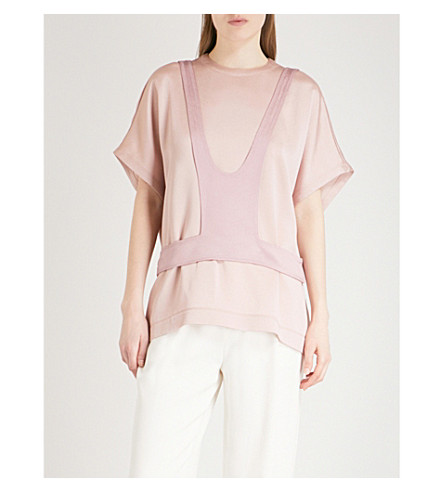 VALENTINO Overlay-panel satin top (Dusty+rose/soft+pink