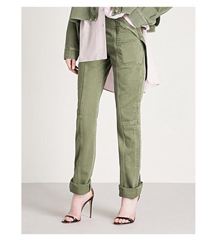 VALENTINO Strap-detailed slim-fit skinny jeans (Army