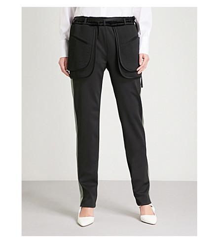 VALENTINO Side-stripe satin trousers (Nero/mala+chite