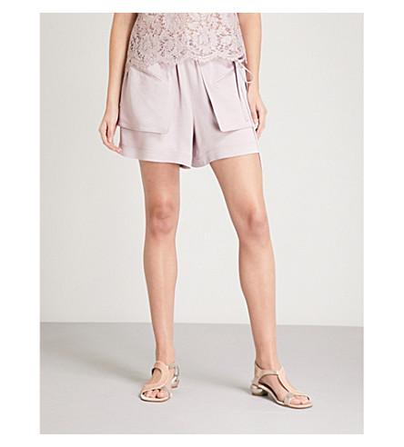 VALENTINO Pocket-detail wide-leg satin shorts (Water+lilac