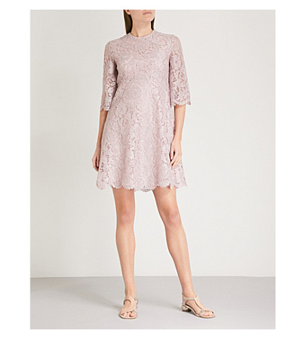 VALENTINO Scalloped-trim lace mini dress (Water+lilac