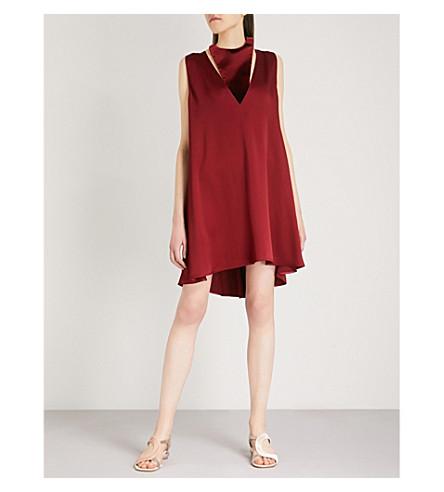 VALENTINO Halterneck velvet and satin-crepe swing dress (Dark+cremisi
