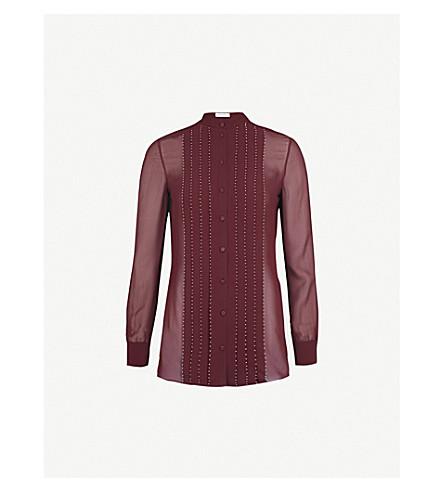 VALENTINO Bead-embellished silk-crepe shirt (Burgundy