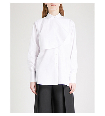 VALENTINO Layered cotton-poplin shirt (White
