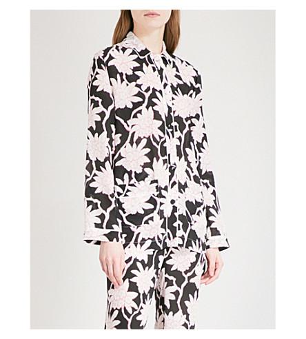 VALENTINO Floral-print silk-crepe pyjama shirt (Black+multi