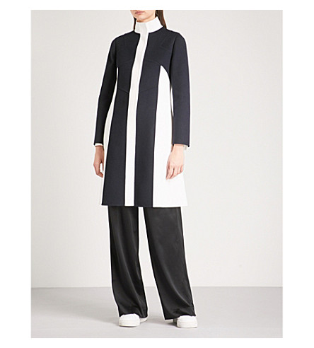 VALENTINO Colourblock wool and cashmere-blend coat (Blue/white