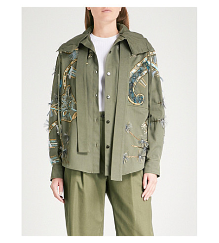 VALENTINO Embellished cotton hooded jacket (Green/green