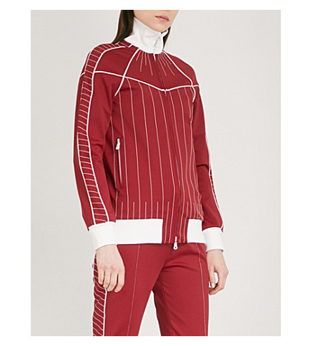 VALENTINO Contrast-stitch jersey jacket (Dark+red