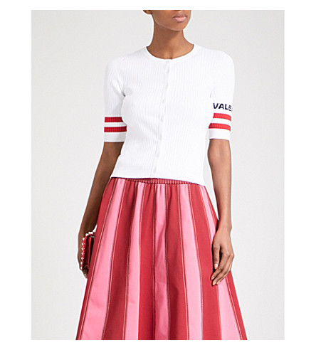 VALENTINO Logo and stripe-embroidered knitted cardigan (White