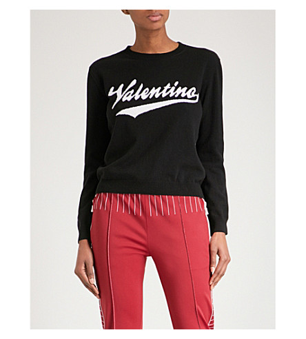 VALENTINO Logo-intarsia wool and cashmere-blend jumper (Black