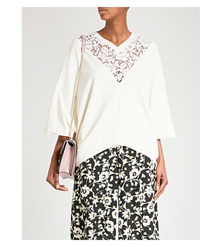 VALENTINO 披肩-镶板花边-插入针织上衣 (白色