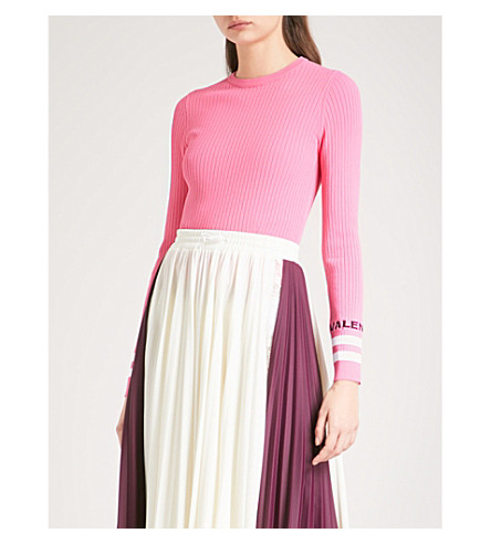 VALENTINO Striped ribbed-knit jumper (Pink